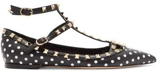 Valentino Rockstud T Bar Leather Flats - Womens - Black White