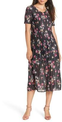 French Connection Florence Print Plisse Jersey Dress