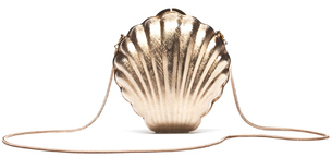 Lanvin Shell Minaudiere Embossed Brass Bag