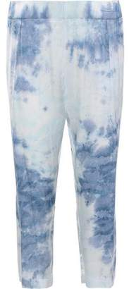 Enza Costa Cropped Tie-Dyed Satin Straight-Leg Pants