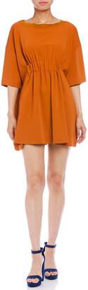 Maison Margiela (メゾン マルジェラ) - Maison Margiela MM6 ウエストギャザー 六分袖ドレス オレンジ 40