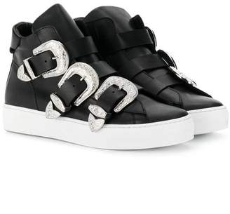 DSQUARED2 TEEN hi-top sneakers with side buckles