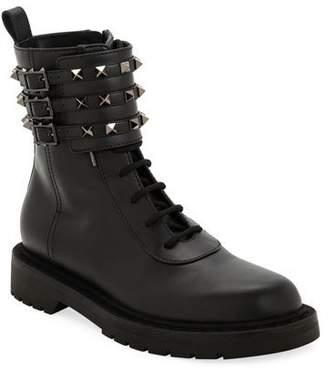 Valentino Tri-Band Rockstud Combat Boots