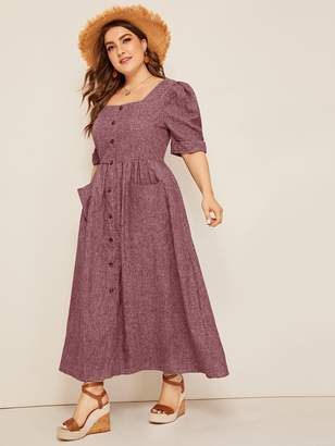 Shein Plus Puff Sleeve Patch Pocket Detail Button Up Dress