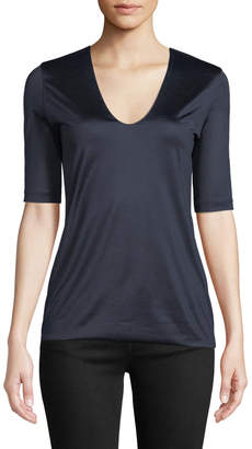 Akris V-Neck Elbow-Sleeve Silk Jersey T-Shirt