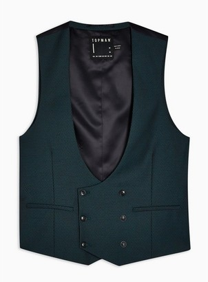 Topman Mens Blue Teal Slim Fit Suit Vest