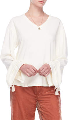 Scotch & Soda Tassel Sleeve V-Neck Sweater