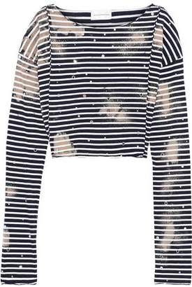 Faith Connexion Cropped Embellished Striped Cotton-jersey Top