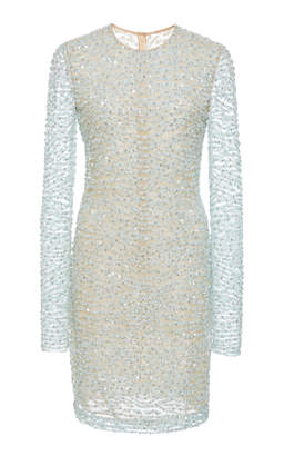 Naeem Khan Long Sleeve Beaded Mini Dress
