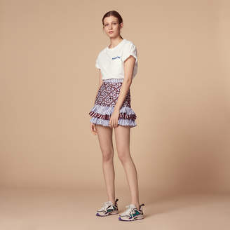 Sandro Short skirt with embroidery and ruffles