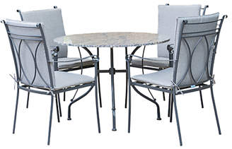 LG Electronics Outdoor Constantine 4 Seater Garden Dining Table and Chairs Set, Granite