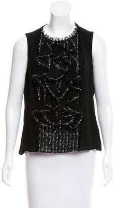 Oscar de la Renta Ruffle-Trimmed Sleeveless Top