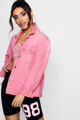 boohoo Dusky Pink Distressed Denim Boyfriend Jacket