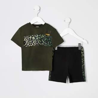 River Island Mini boys Khaki leopard print pyjama set