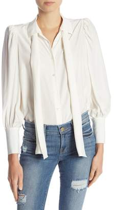 Frame Front Tie Long Sleeve Silk Blouse