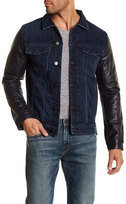 J Brand Scorpius Faux Leather Sleeve Denim Jacket