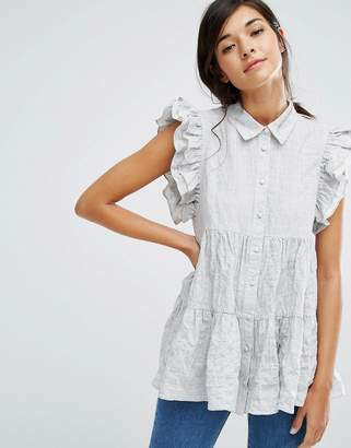 Lost Ink Smock Shirt With Frill Shoulder $57 thestylecure.com