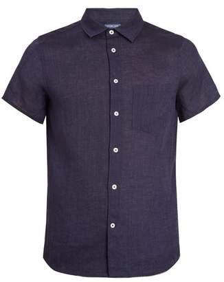 Frescobol Carioca - Point Collar Short Sleeve Linen Shirt - Mens - Navy
