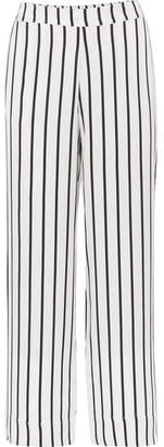 ASCENO - Striped Silk-satin Pajama Pants - White