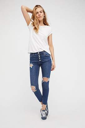 Destroyed Reagan Button-Front Jeans