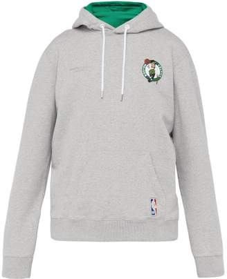 Marcelo Burlon County of Milan Boston Celtics Applique Cotton Hooded Sweatshirt - Mens - Light Grey