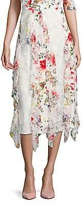 Alice + Olivia Women's Yula Silk Midi Skirt