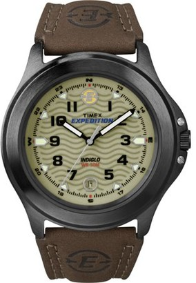 Timex Men's Expedition Metal Field Watch, Brown Leather Strap