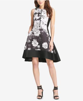 DKNY Graphic-Print Scuba Fit & Flare Dress