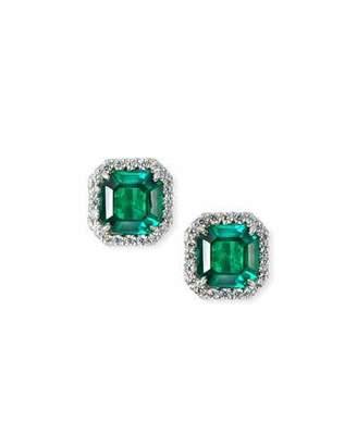 FANTASIA Cubic Zirconia & Synthetic Emerald Stud Earrings