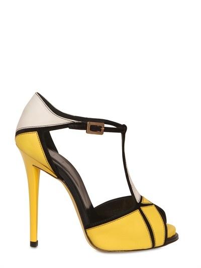 120mm Prismick Leather & Suede Sandals