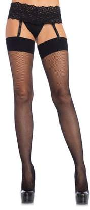 Leg Avenue Women's Spandex Fishnet Stocking with Comfort Wide Band Top, Black, 1X-2X