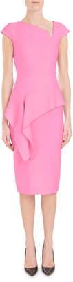 Roland Mouret Asymmetric-Neck Cap-Sleeve Peplum Fitted Crepe Cocktail Dress