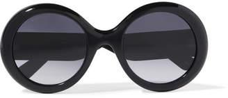 Gucci Round-frame Glittered Acetate Sunglasses - Black
