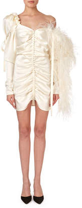 Magda Butrym Tefe Ruched One-Shoulder Cocktail Dress w/ Feathers