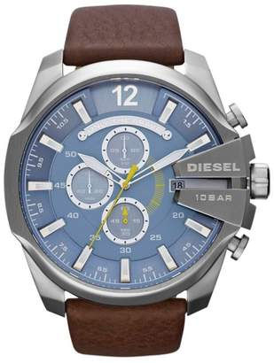 Diesel Men's 'Mega Chief' Blue Dial & Brown Leather Strap Watch Dz4281