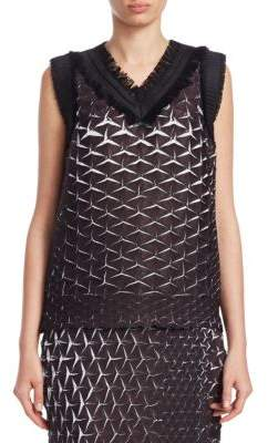 Issey Miyake Retrospect Solid Sleeveless V-Neck Top