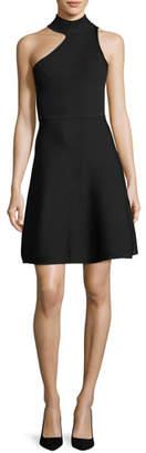 Cushnie et Ochs One-Shoulder Mock-Neck Minidress
