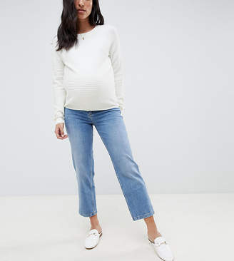 Asos (エイソス) - ASOS Maternity ASOS DESIGN Maternity Farleigh high waist straight leg jeans in stone wash blue