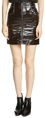 Maje Jacko Patent Leather Skirt $545 thestylecure.com