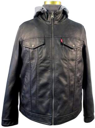 Levi's Men's Faux Leather / Stand Collar Hooded Trucker Jacket