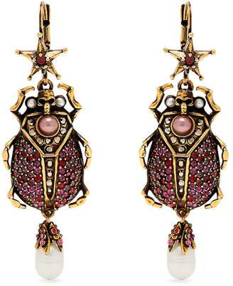Alexander McQueen Crystal-embellished beetle-drop earrings