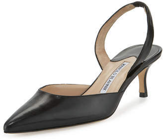 Manolo Blahnik Carolyne Leather Low-Heel Slingback Pump
