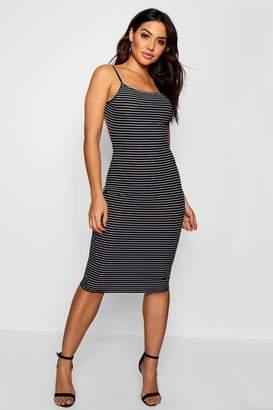 boohoo Mel Low Back Striped Ribbed Midi Dress