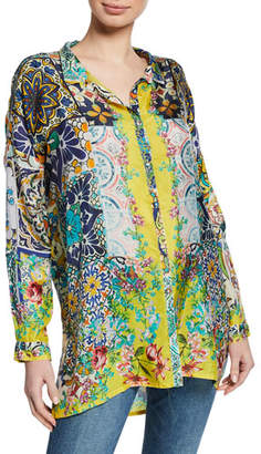 Johnny Was Morocca Tile-Printed Button-Front Long-Sleeve Top