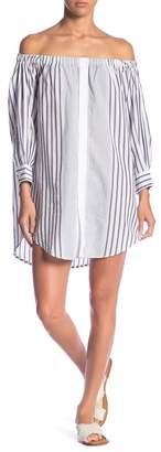 Elan International Off-the-Shoulder Button Front Dress