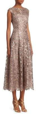 Talbot Runhof Metallic Lace Midi Dress