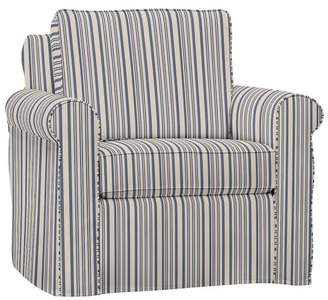 Pottery Barn Cameron Roll Arm Slipcovered Armchair - Print and Pattern