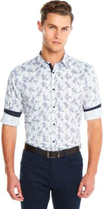 yd. WHITE FLORAL SLIM FIT SHIRT