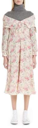 Junya Watanabe Mixed Media Floral Turtleneck Dress
