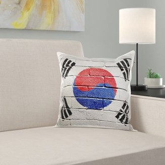 East Urban Home National Flag of South Korea Painted onto a Brick Wall Korean Pillow Cover East Urban Home